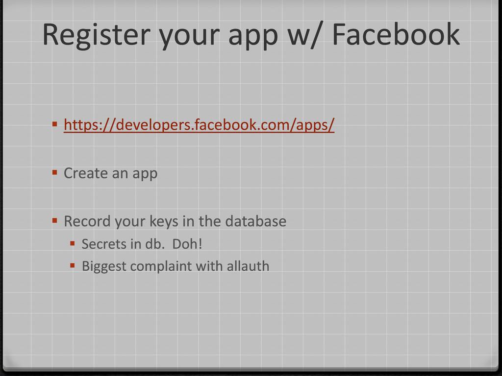 Register your app w/ Facebook  https://develop...