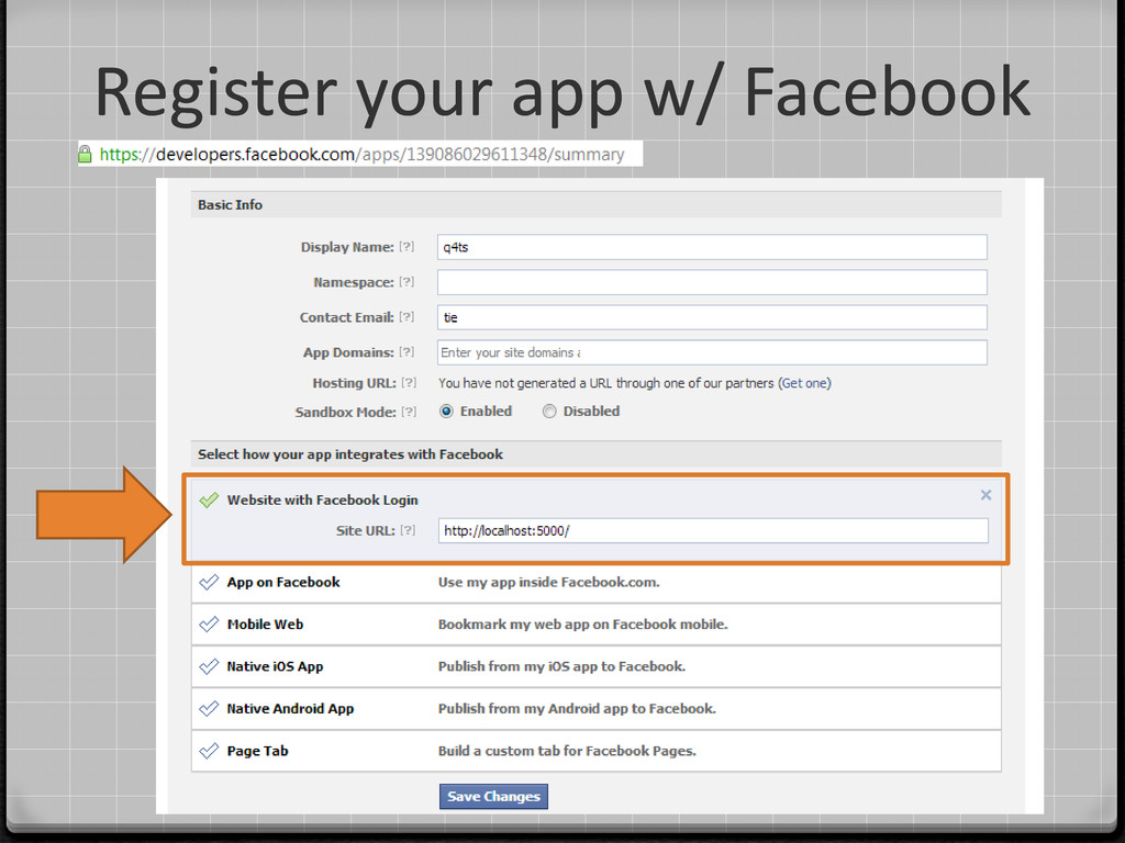 Register your app w/ Facebook