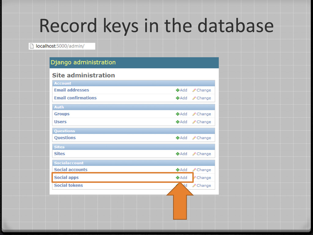 Record keys in the database