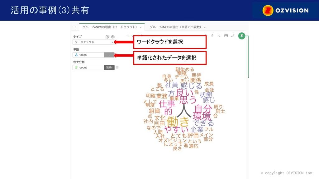 © copylight OZVISION inc. 活用の事例(3)共有 ワードクラウドを...