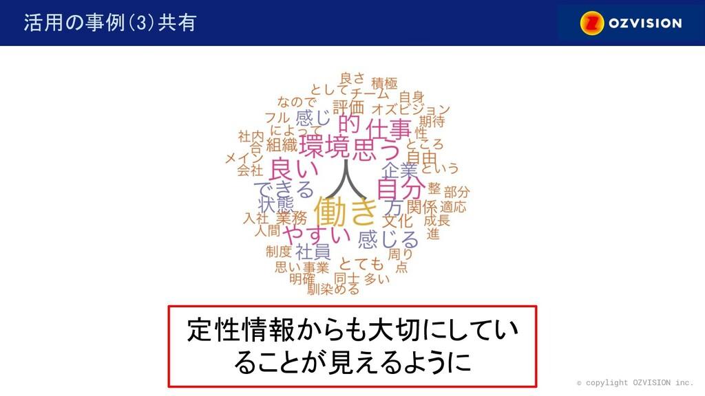 © copylight OZVISION inc. 活用の事例(3)共有 定性情報からも大...
