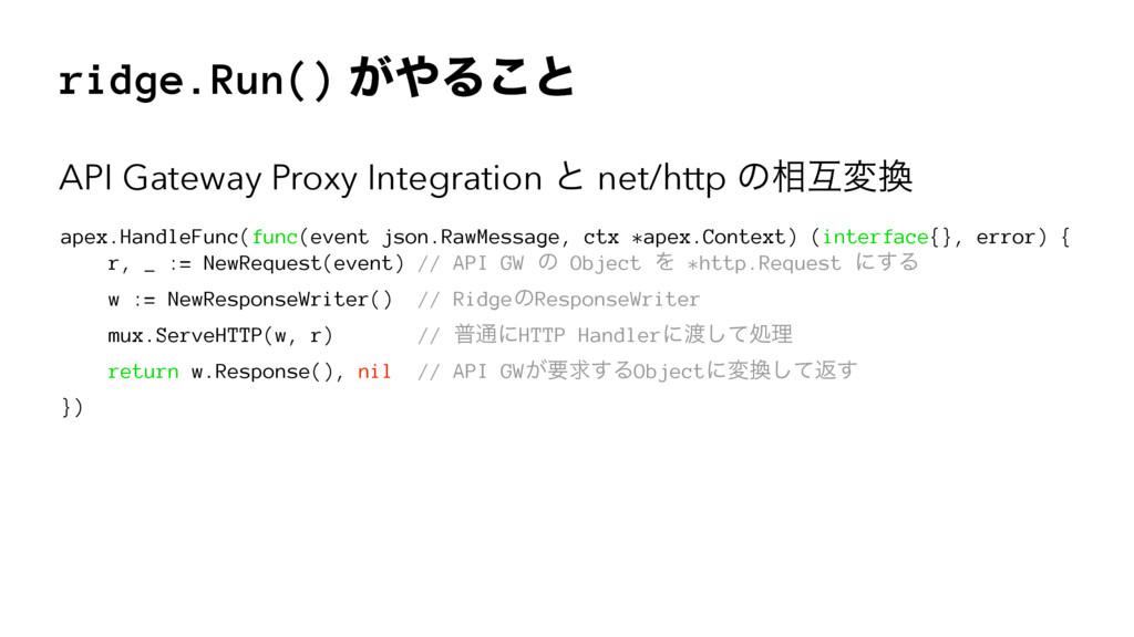 ridge.Run() ͕Δ͜ͱ API Gateway Proxy Integration...