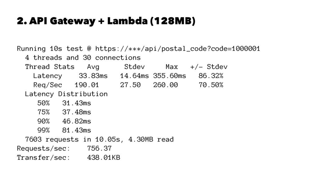 2. API Gateway + Lambda (128MB) Running 10s tes...