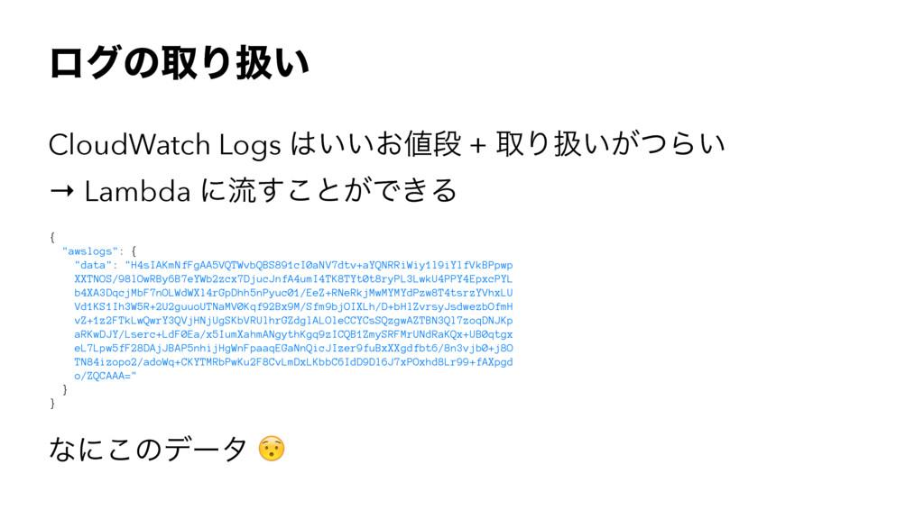ϩάͷऔΓѻ͍ CloudWatch Logs ͍͍͓ஈ + औΓѻ͍͕ͭΒ͍ → Lam...