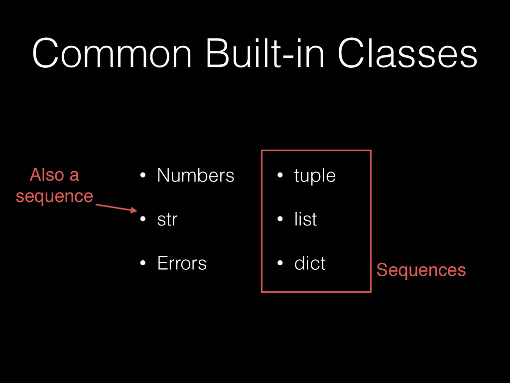 Common Built-in Classes • Numbers • str • Error...
