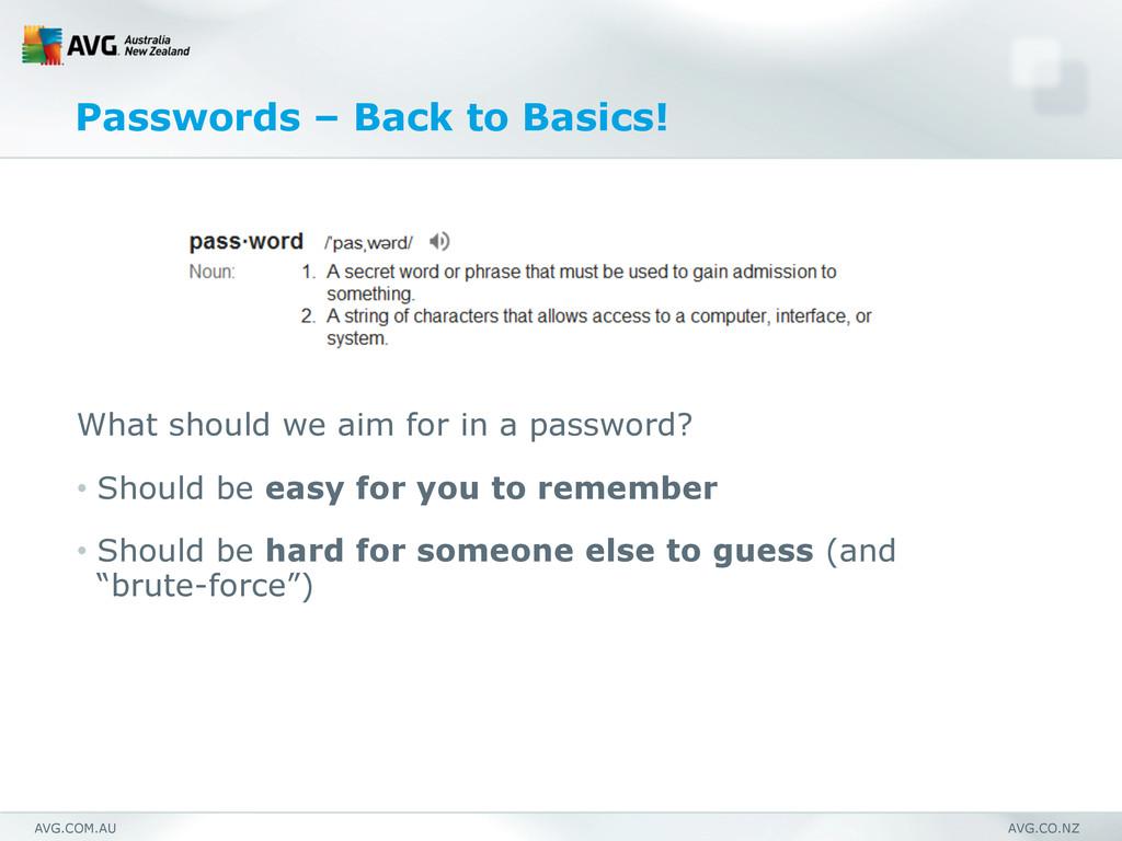 AVG.COM.AU AVG.CO.NZ Passwords – Back to Basics...