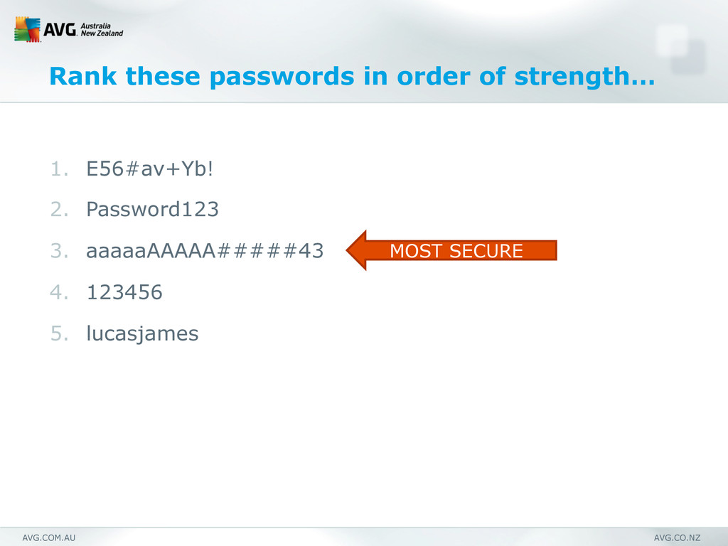 AVG.COM.AU AVG.CO.NZ Rank these passwords in or...