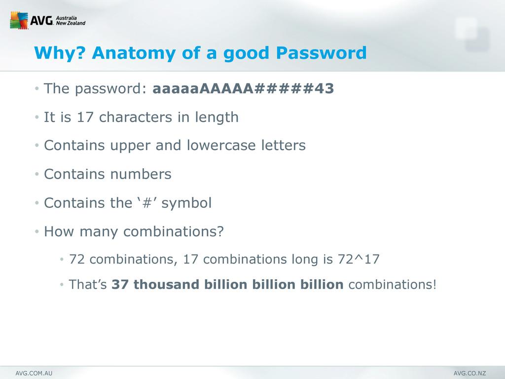 AVG.COM.AU AVG.CO.NZ Why? Anatomy of a good Pas...