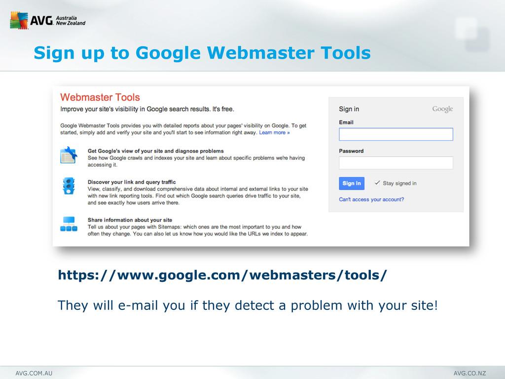 AVG.COM.AU AVG.CO.NZ Sign up to Google Webmaste...