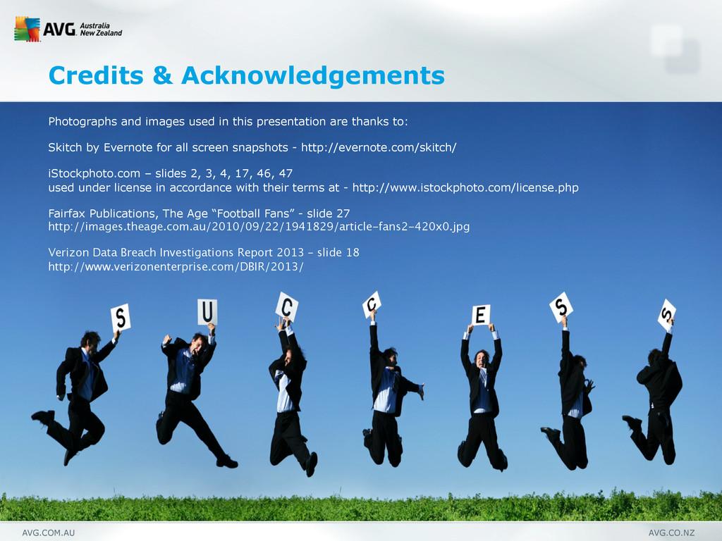 AVG.COM.AU AVG.CO.NZ Credits & Acknowledgements...