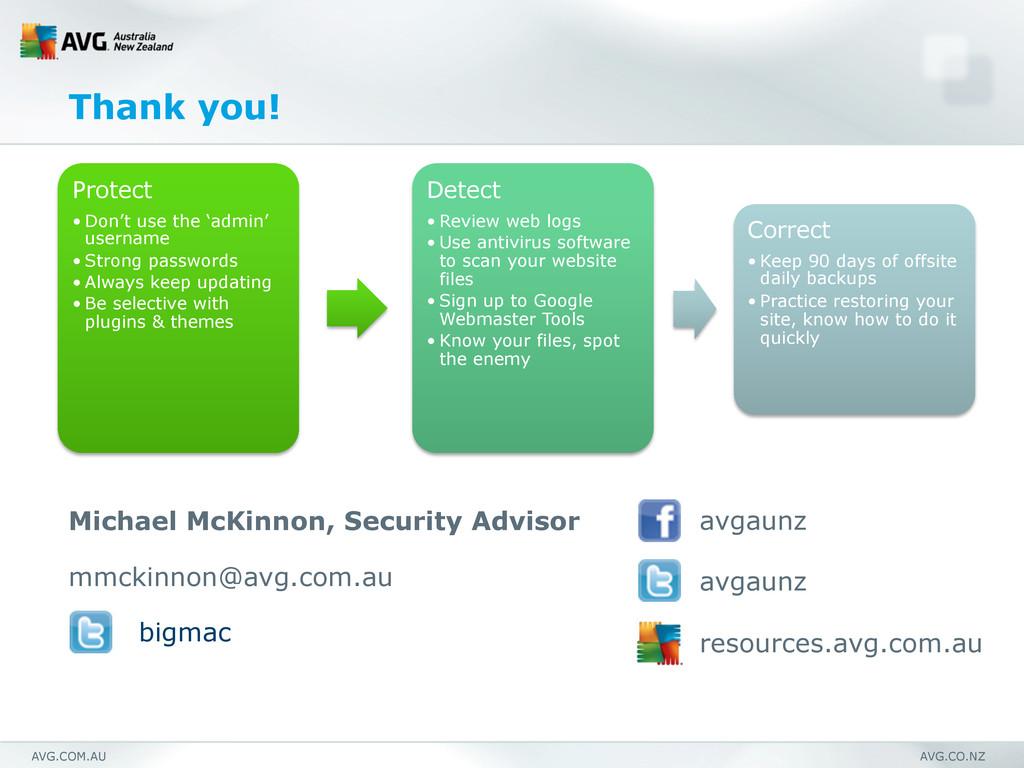 AVG.COM.AU AVG.CO.NZ Protect •Don't use the 'a...