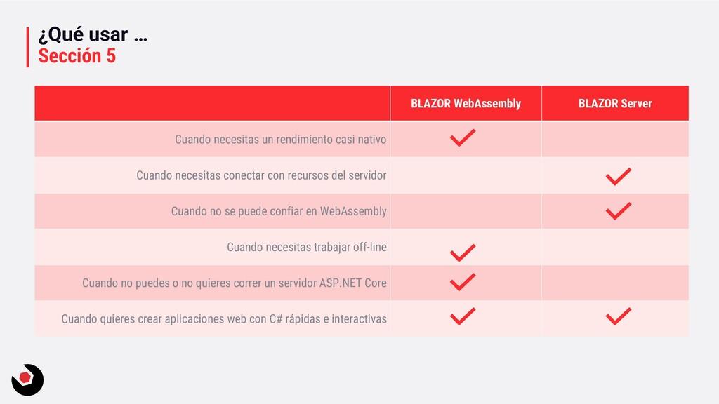 ¿Qué usar … Sección 5 BLAZOR WebAssembly BLAZOR...
