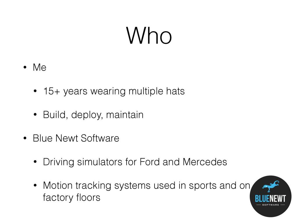 Who • Me • 15+ years wearing multiple hats • Bu...