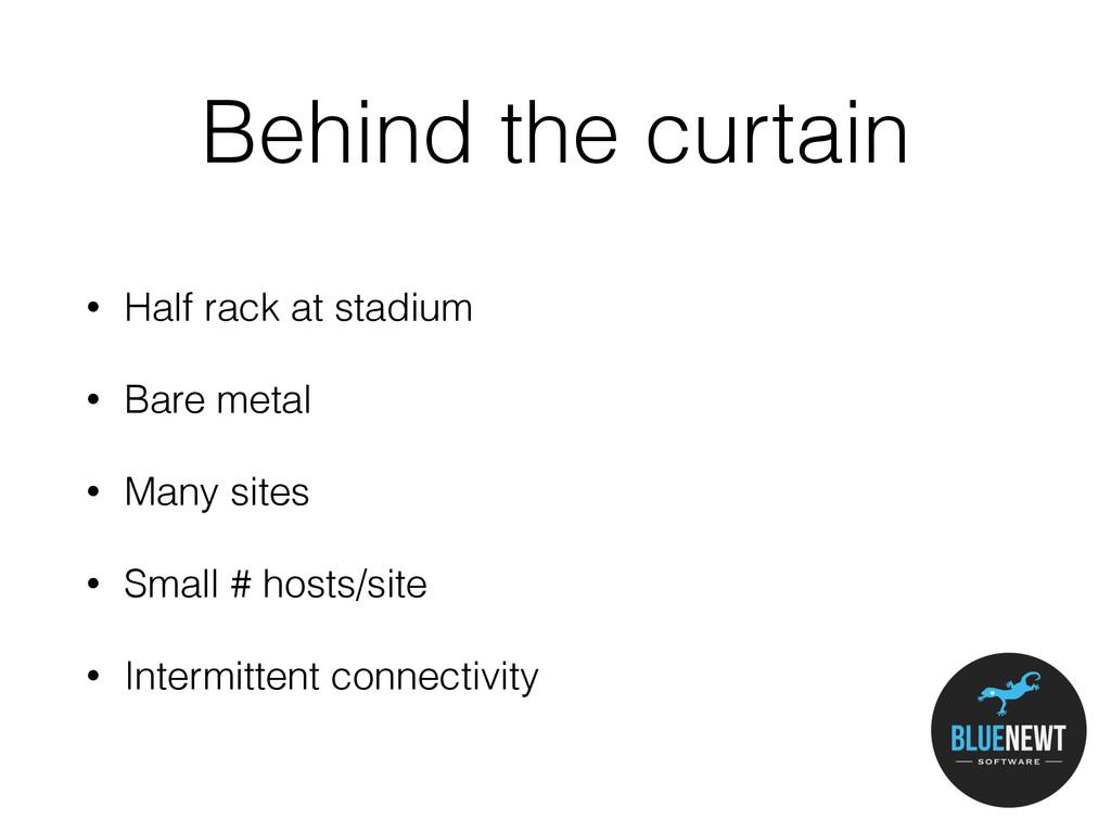 Behind the curtain • Half rack at stadium • Bar...