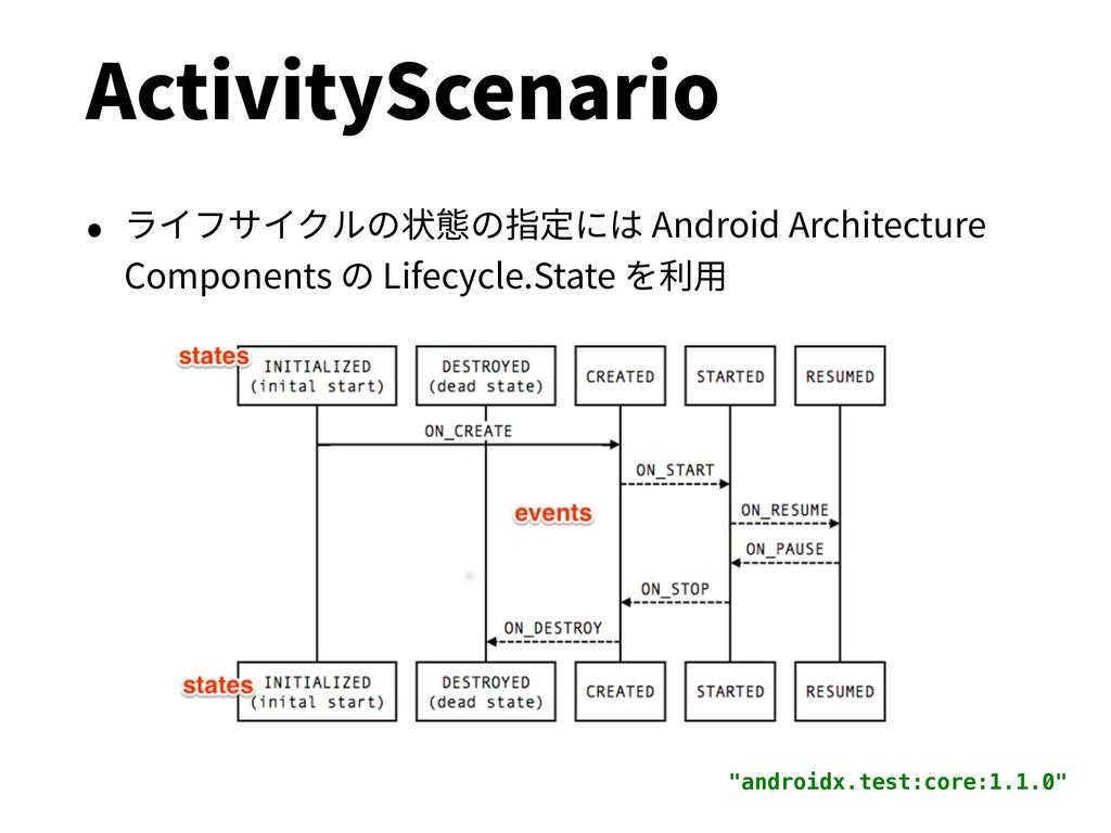 ActivityScenario • ライフサイクルの状態の指定には Android Arch...