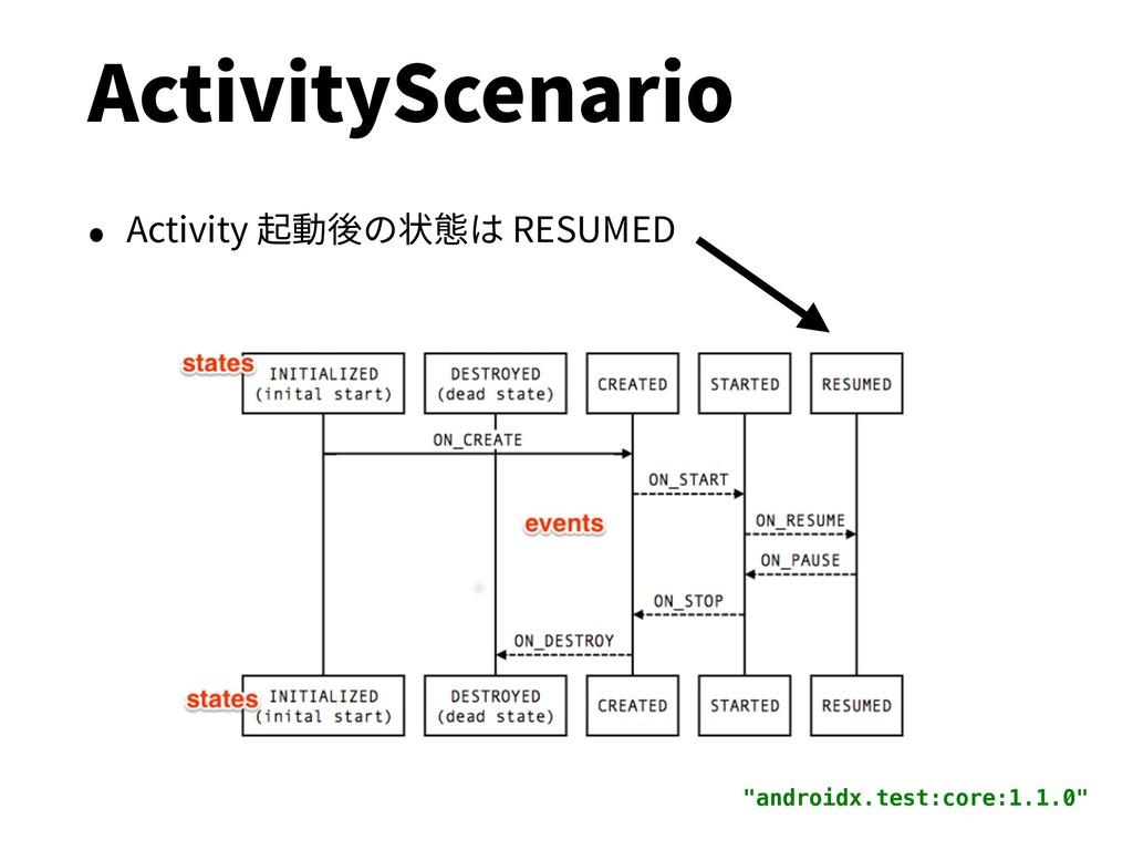 "ActivityScenario • Activity 起動後の状態は RESUMED ""an..."