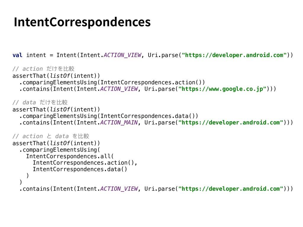 IntentCorrespondences val intent = Intent(Inten...