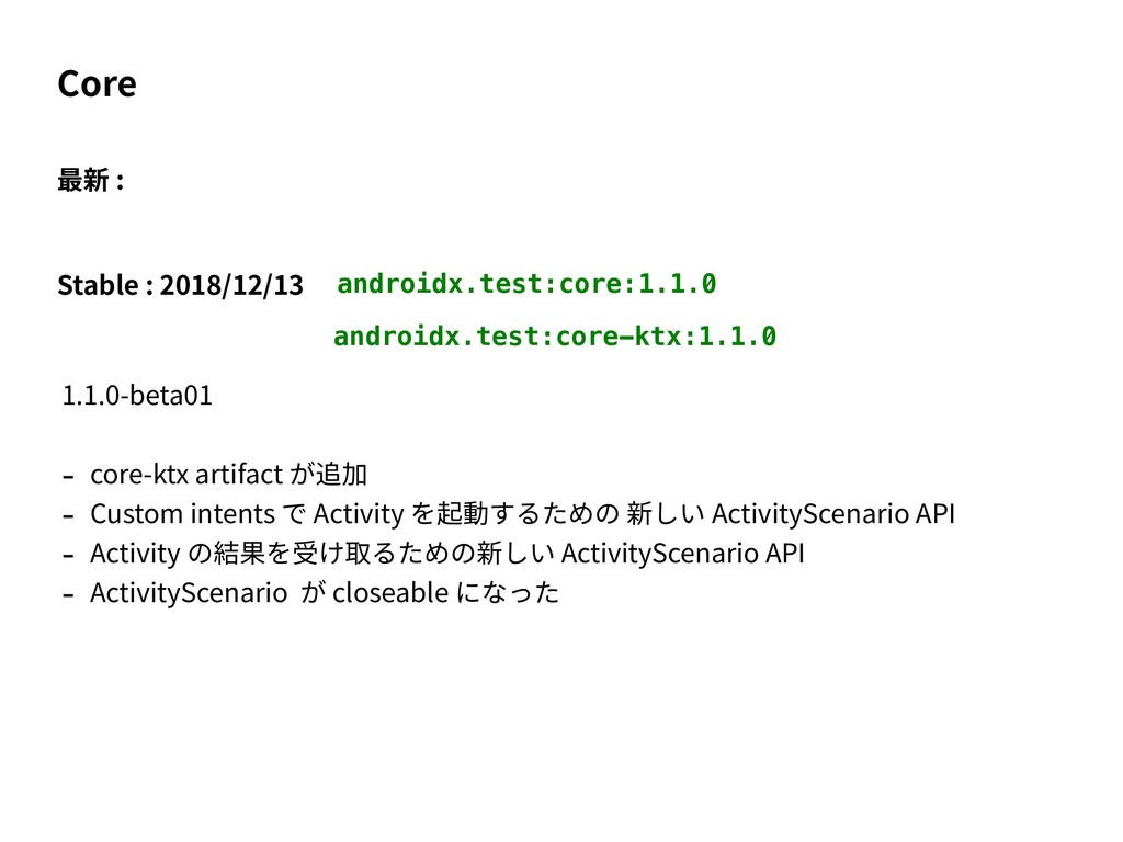 Core 最新 : Stable : 2018/12/13 androidx.test:cor...