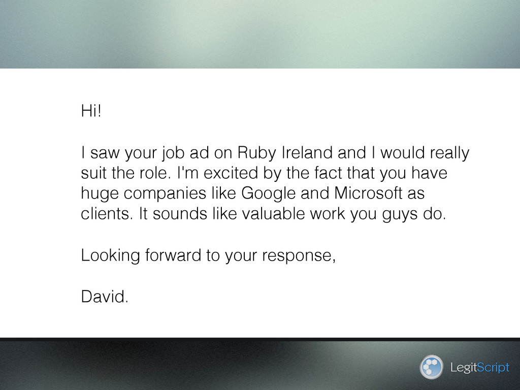 LegitScript Hi! I saw your job ad on Ruby Irela...