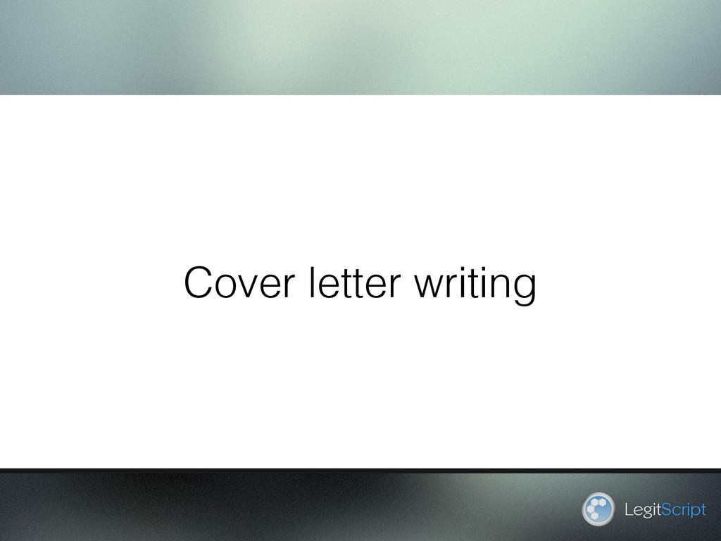 Cover letter writing LegitScript
