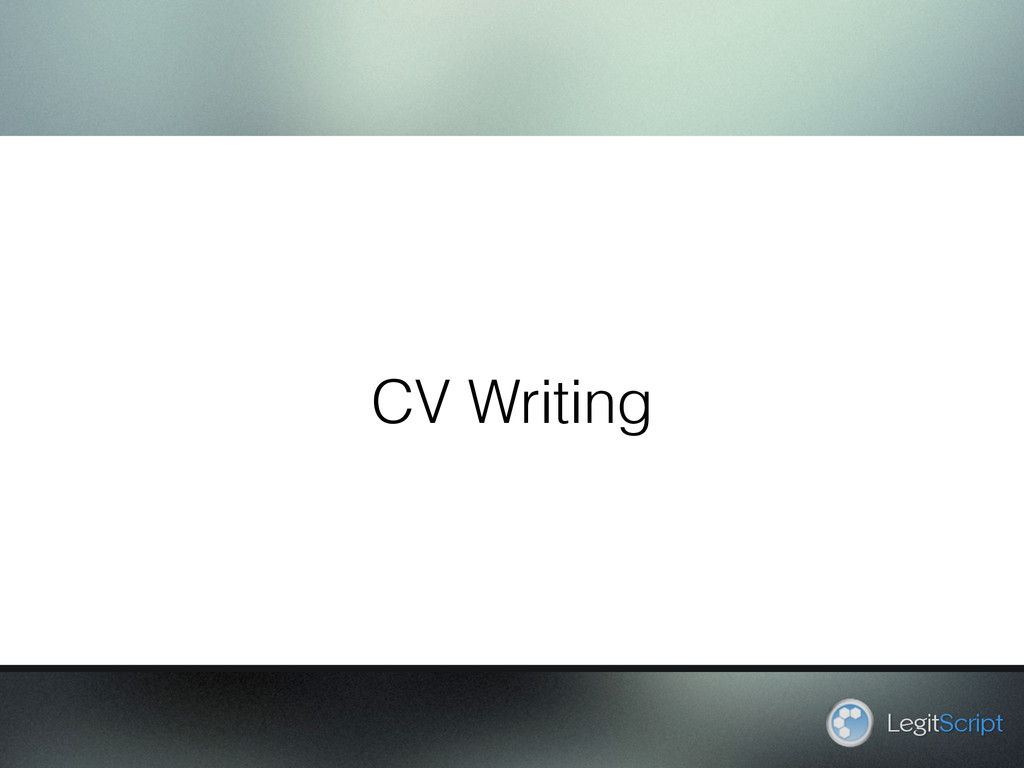 CV Writing LegitScript