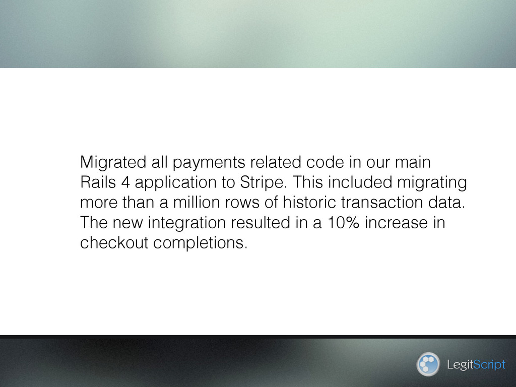 LegitScript Migrated all payments related code ...