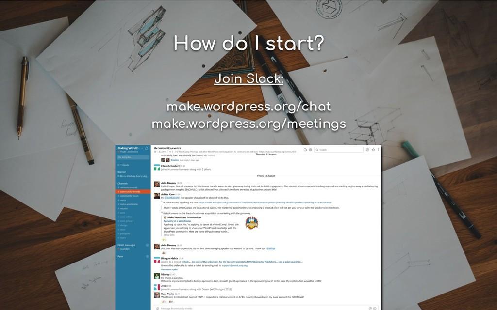 How do I start? Join Slack: make.wordpress.org/...