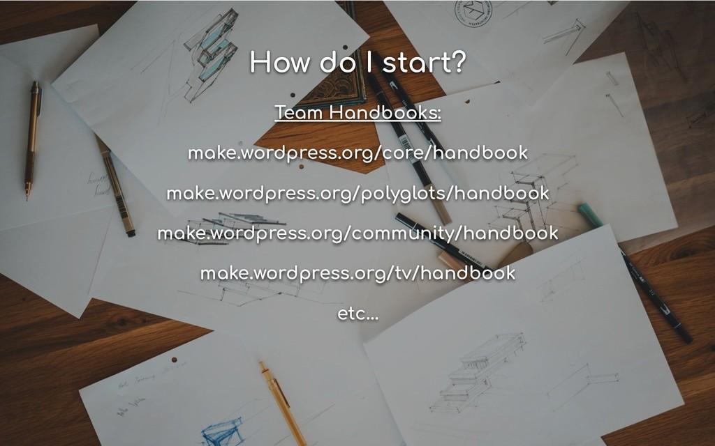 How do I start? Team Handbooks: make.wordpress....