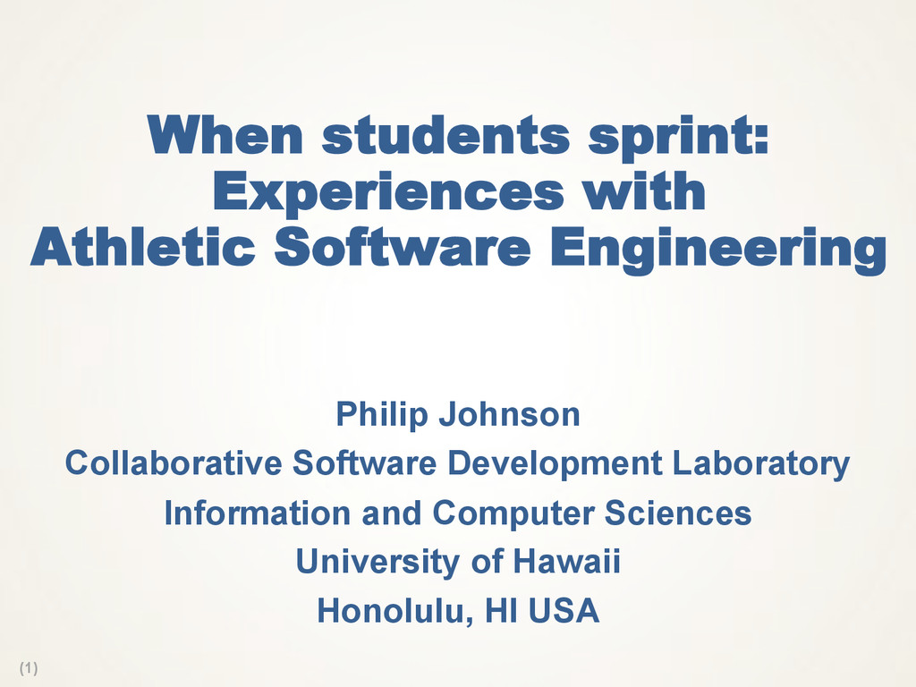 (1) When students sprint: Experiences with Athl...
