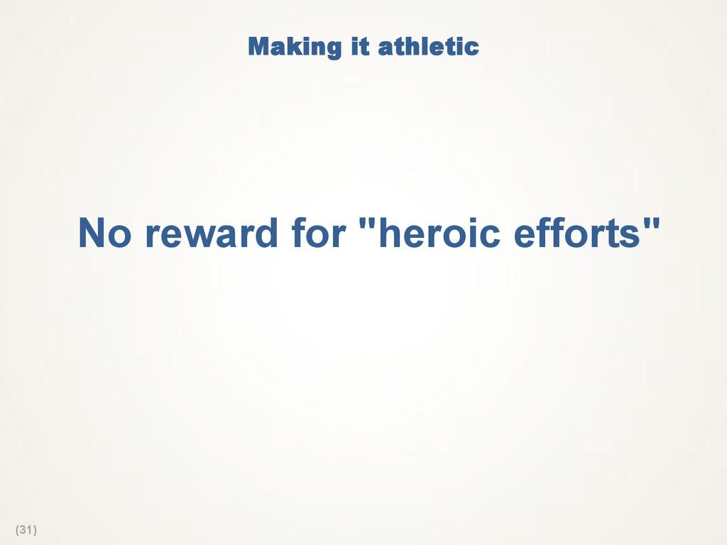 "(31) Making it athletic No reward for ""heroic ..."