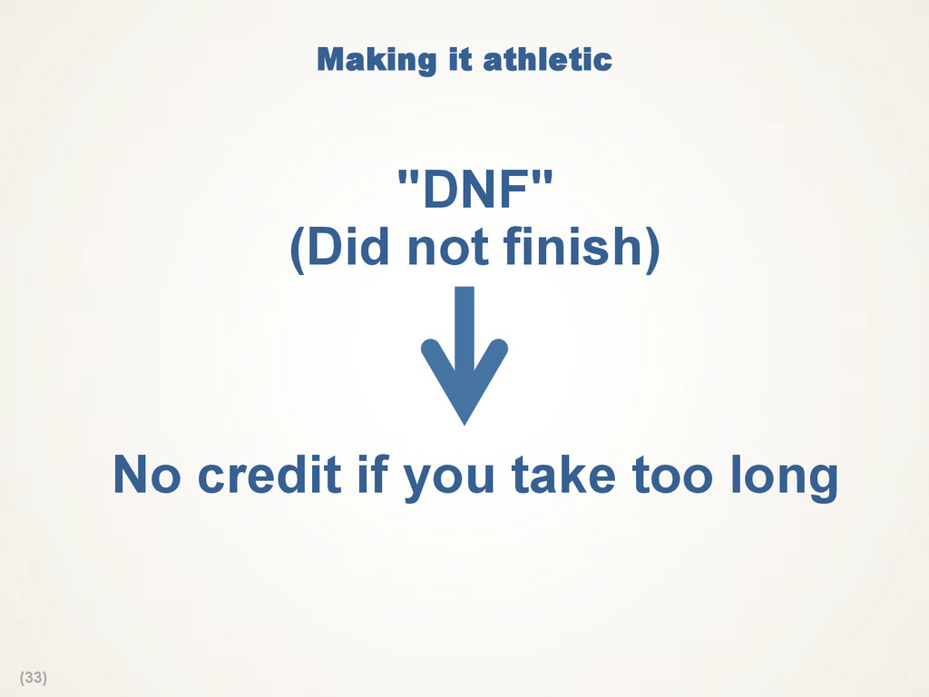 "(33) Making it athletic  ""DNF"" (Did not finish)..."