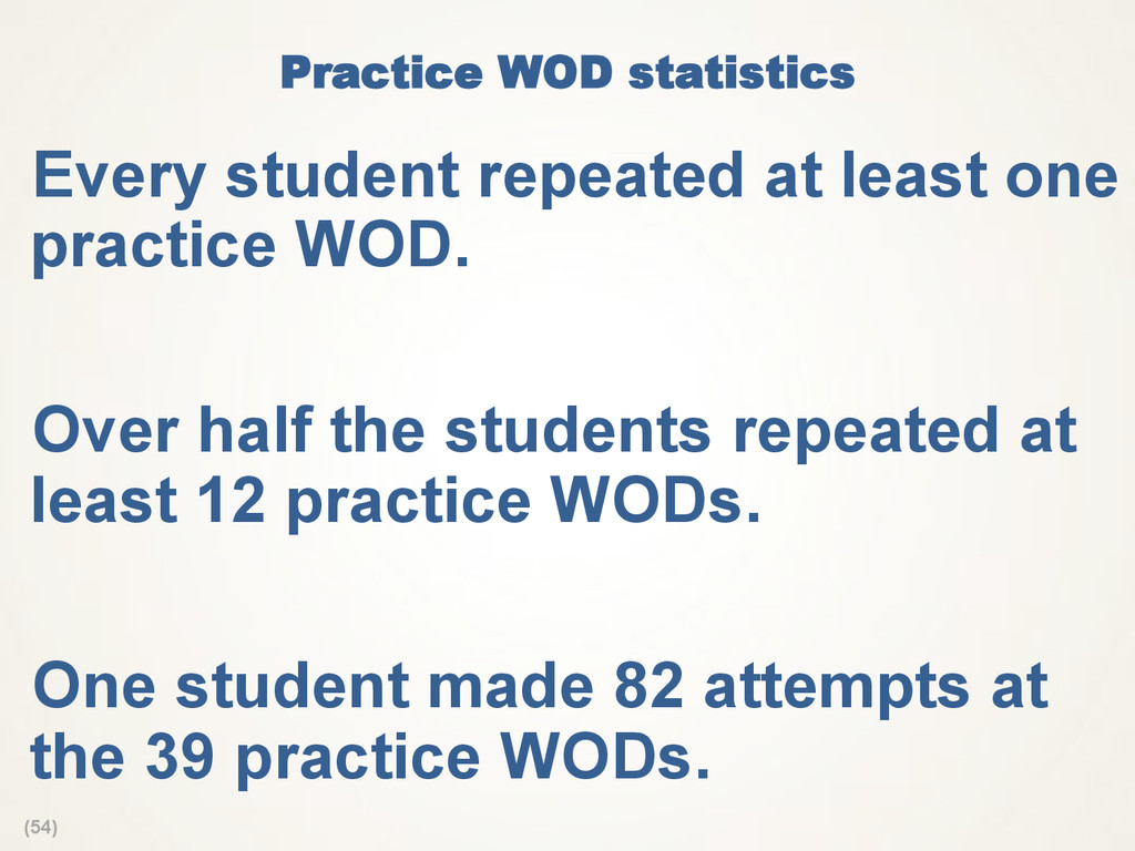 (54) Practice WOD statistics  Every student rep...