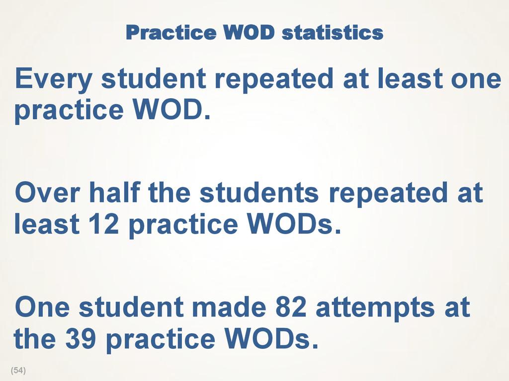 (54) Practice WOD statistics Every student rep...