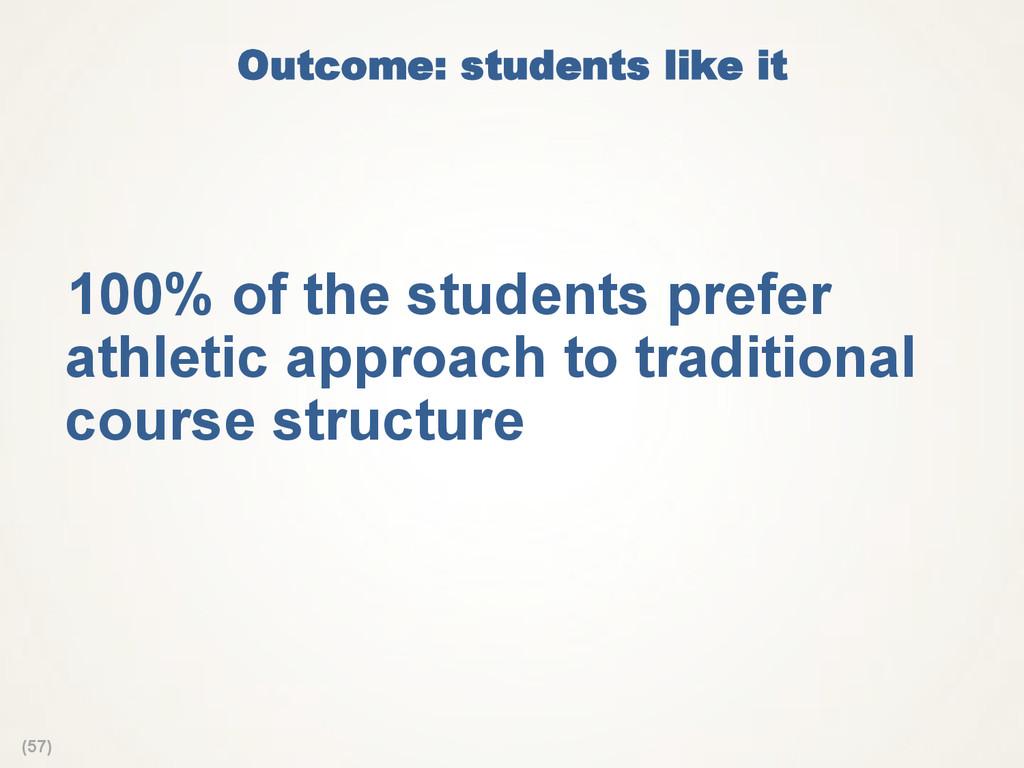 (57) Outcome: students like it 100% of the stu...