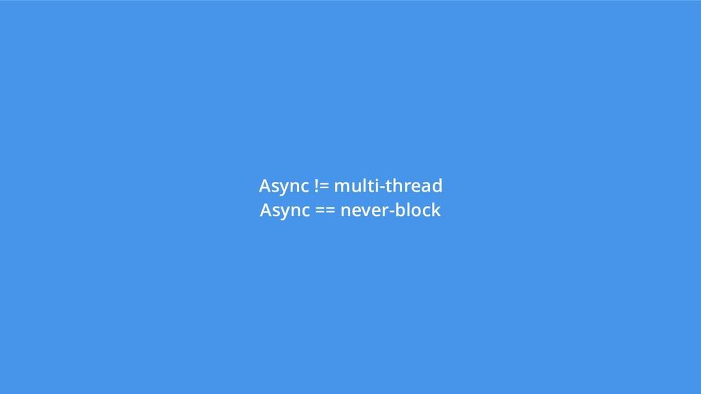 Async != multi-thread Async == never-block