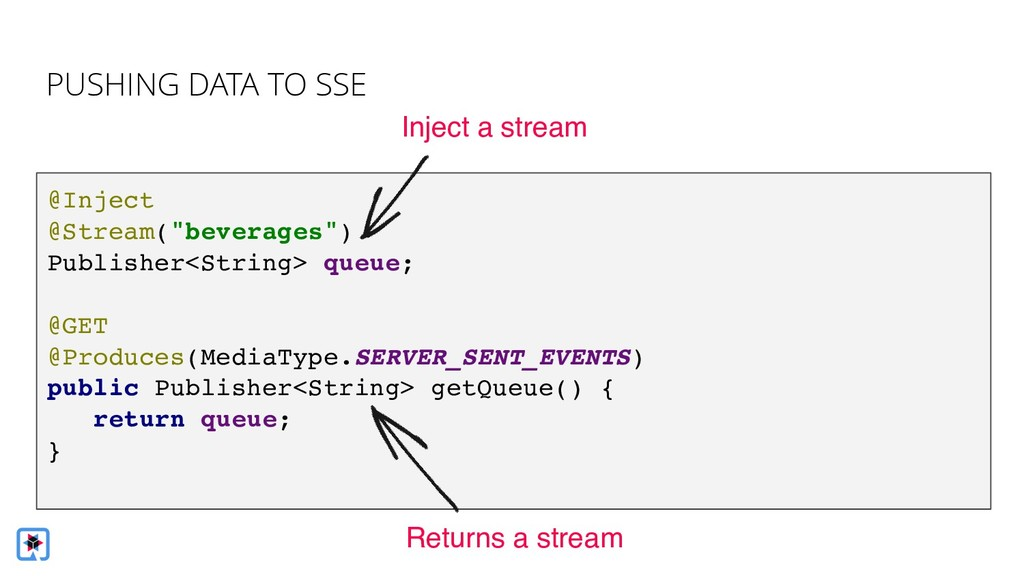 """@Inject @Stream(""""beverages"""") Publisher<String> ..."""