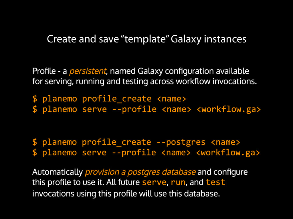 """Create and save """"template"""" Galaxy instances"""
