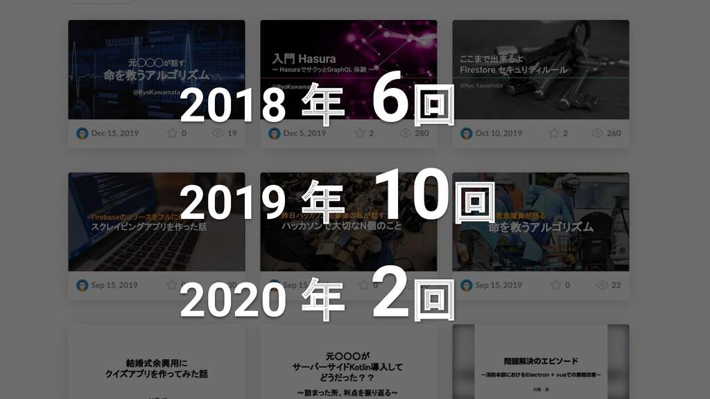 2018 年 6回 2019 年 10回 2020 年 2回