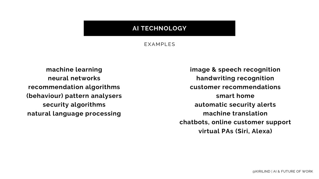 AI TECHNOLOGY EXAMPLES machine learning neural ...