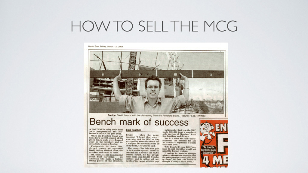 HOW TO SELL THE MCG