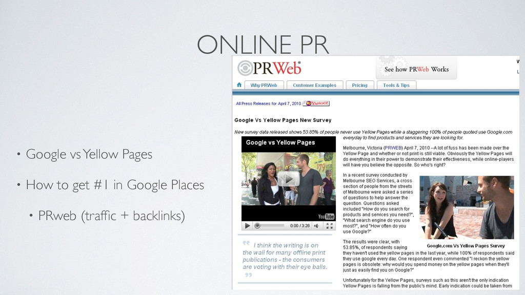 ONLINE PR • Google vs Yellow Pages	 
