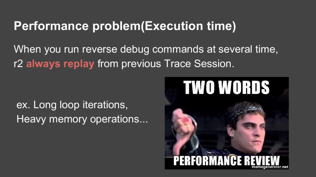 Performance problem(Execution time) When you ru...