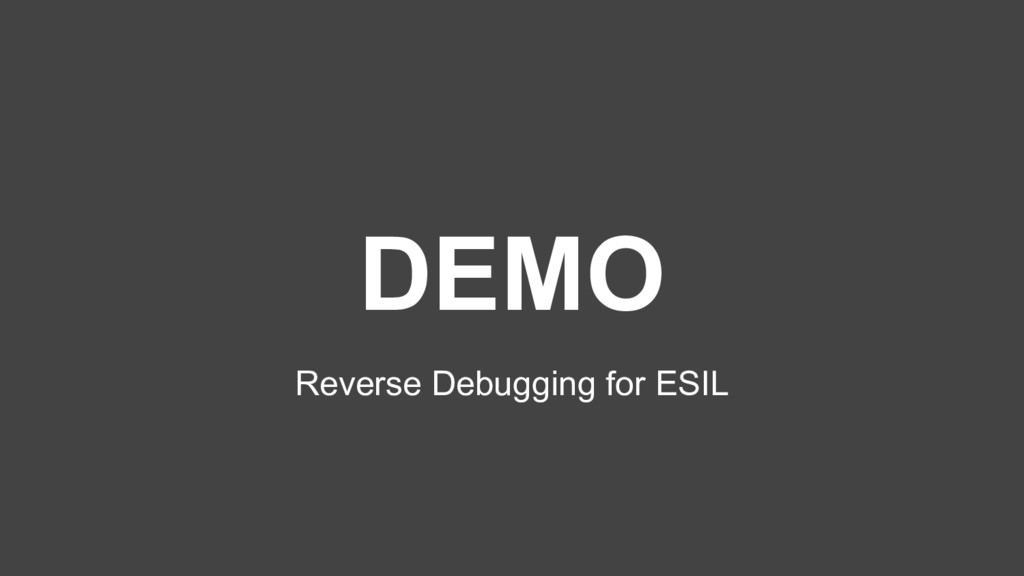 DEMO Reverse Debugging for ESIL
