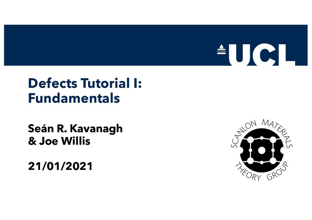 Defects Tutorial I: Fundamentals Seán R. Kavana...