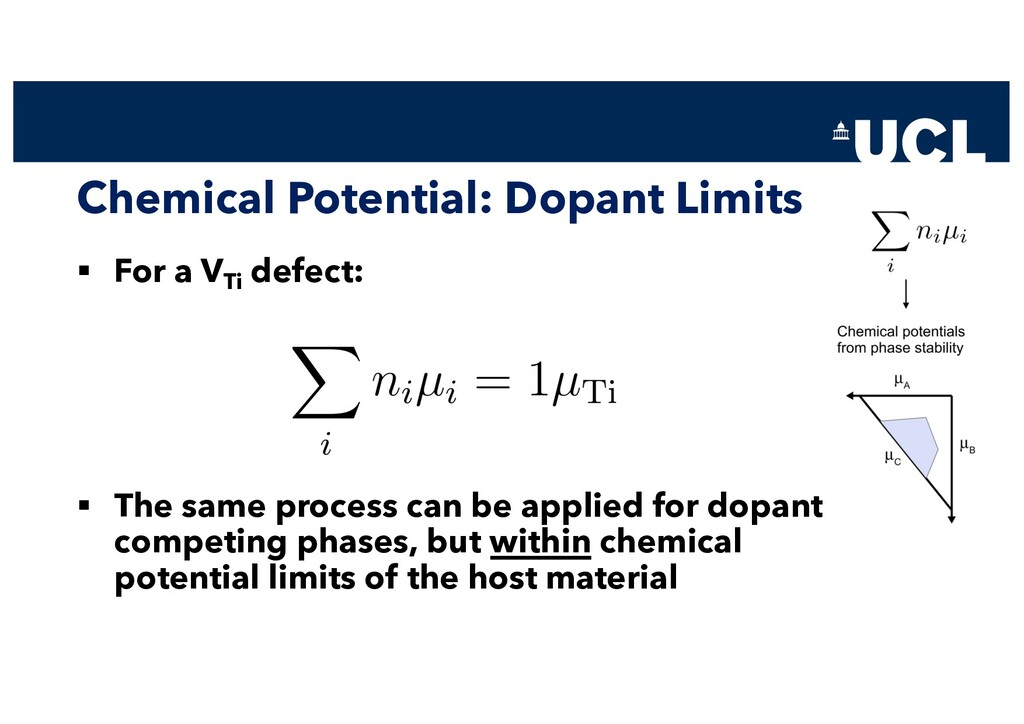 Chemical Potential: Dopant Limits § For a VTi d...