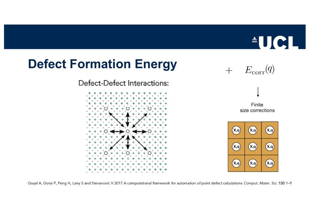 Defect Formation Energy Goyal A, Gorai P, Peng ...