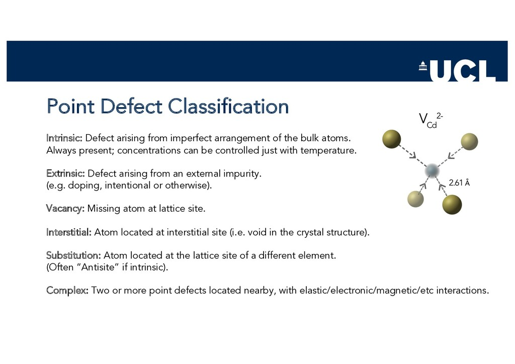 Point Defect Classification Intrinsic: Defect a...