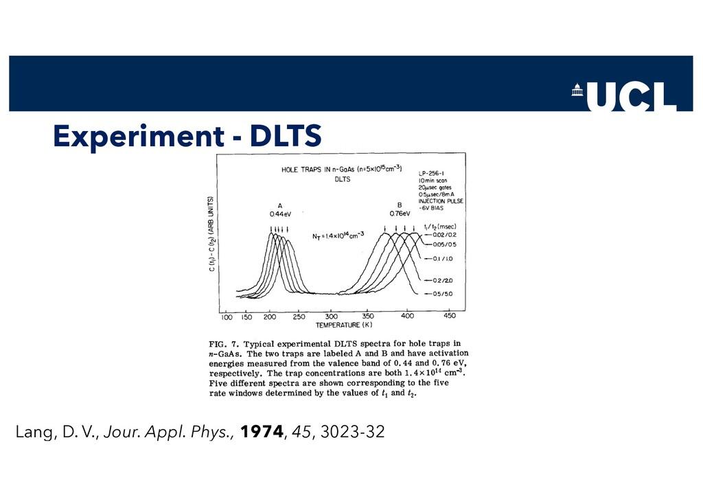 Experiment - DLTS Lang, D. V., Jour. Appl. Phys...