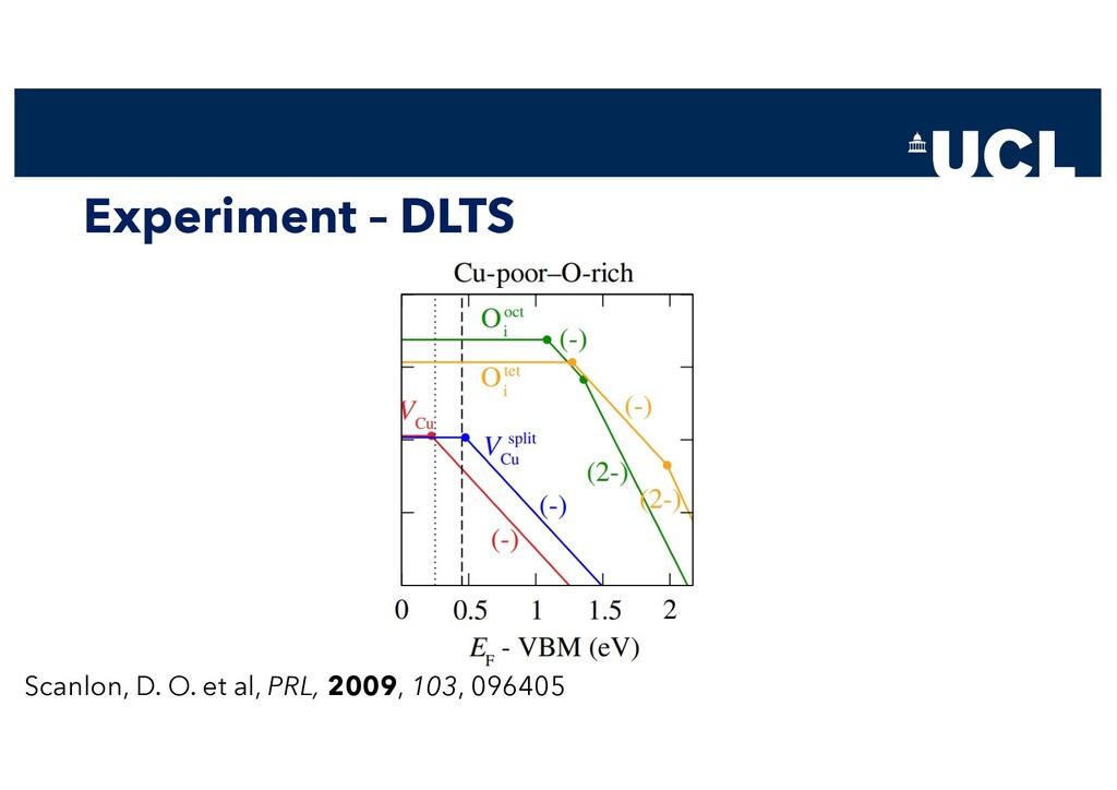 Experiment – DLTS Scanlon, D. O. et al, PRL, 20...