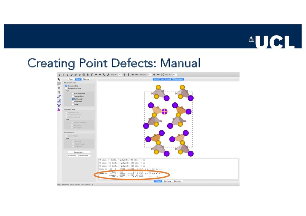 Creating Point Defects: Manual